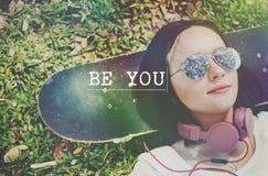 Sea usted mismo concepto optimista de la confianza del amor propio Fotografía de archivo libre de regalías