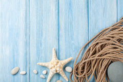 Sea vacation background with star fish and marine rope Royalty Free Stock Photos