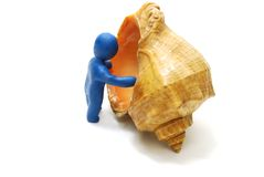 Sea Vacation Concept. 3D Man of Plasticine Stepping into Shell Isolated on White Stock Image