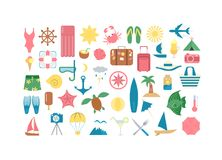 Sea vacation icons. Sea vacation icons set on white background Stock Images