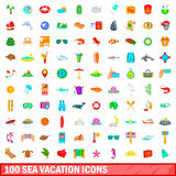 100 sea vacation icons set, cartoon style. 100 sea vacation icons set in cartoon style for any design vector illustration Royalty Free Stock Photos