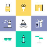 Sea vacation pictogram icons set Royalty Free Stock Photo