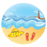 Sea vacation round icon Royalty Free Stock Image