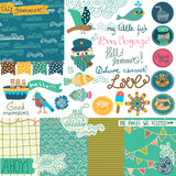 Sea vacation scrapbooking collection Stock Image