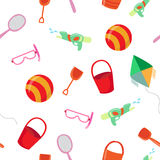 Sea Vacation Seamless Pattern with Water Accessories and Children Toys Stock Photos