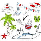 Sea vacation set Royalty Free Stock Photo