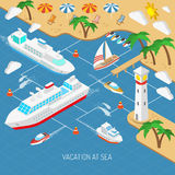 Sea vacation and ships concept. Sea vacation and ships with beach umbrellas chaise lounges and palms isometric concept vector illustration Royalty Free Stock Photo