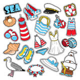 Sea Vacation Woman Fashion Elements and Clothes for Scrapbook Royalty Free Stock Photo