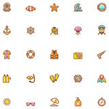 Sea vacations icon set Royalty Free Stock Photos