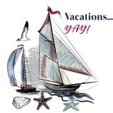 Sea  vacations illustration with watercolor ship Royalty Free Stock Images
