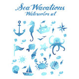 Sea vacations watercolor vector set. In blue color Stock Image