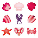 Sea valentine's day set Royalty Free Stock Image