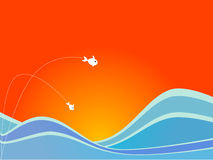 Sea Vector. Fish flying out of the sea into the air against a sunny background Royalty Free Stock Photo