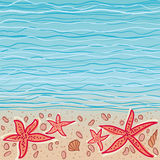 Sea vector background. Sea waves background with some shells and star-fishes at the bottom. EPS8 illustration Royalty Free Stock Images