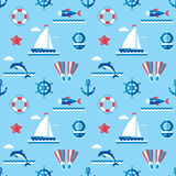 Sea - vector background seamless pattern in flat style design. Ocean background seamless pattern. Seamless vector background with signs of marine theme stock illustration