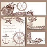 Sea vector brochures set with hand drawn nautical object Royalty Free Stock Photo
