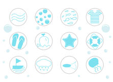 Sea vector icon set Stock Photos