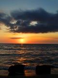 Sea. With very romantic sunset Stock Photos