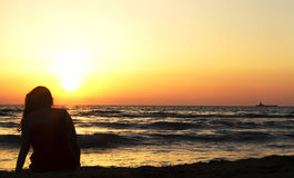 Sea. With very romantic sunset Royalty Free Stock Images