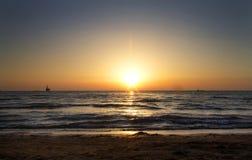 Sea. With very romantic sunset Stock Photo