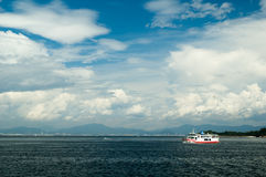 Sea with vessel in front of Hiroshima Royalty Free Stock Photos