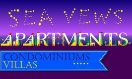 Sea Vews Apartments Inscription. Cute houses Font Royalty Free Stock Photo
