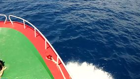 On the sea. Video from ferryboat navigating in the mediterranean sea stock footage