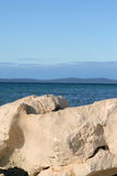 Sea view. View of the adriatic sea with white stone in sunny day Royalty Free Stock Images