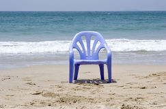 Sea view. A single chair in front of the sea Stock Images