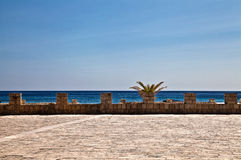 Sea view. Stone wall of the old fort and the sea view Royalty Free Stock Photography