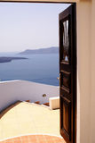 Sea view. At volcano on Santorini island, Greece royalty free stock photography