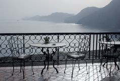 Sea view. View to the sea and mountains from a balcony of restaurant. Italy Stock Images