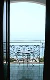Sea view. View to the sea from a balcony of hotel. Italy Stock Photo