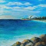 Original oil painting, Seascape, view of the city of Sochi, Russia. Sea view in the afternoon, in the foreground stones, city in the distance stock photo