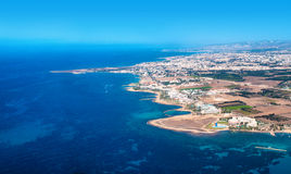 Sea view from an airplane of Cyprus Royalty Free Stock Image