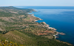 Sea View from an airplane of Cyprus near Pafos. Beautiful Sea View from an airplane of Cyprus near Pafos Stock Photo
