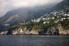 Sea view of Amalfi, a town in the province of Salerno, in the region of Campania, Italy, on the Gulf of Salerno, 24 miles southeas Stock Photography