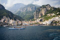 Sea view of Amalfi, a town in the province of Salerno, in the region of Campania, Italy, on the Gulf of Salerno, 24 miles southeas Royalty Free Stock Image