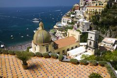 Sea view of Amalfi, a town in the province of Salerno, in the region of Campania, Italy, on the Gulf of Salerno, 24 miles southeas Stock Images