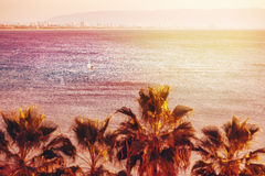 Sea View Background with Blurred Tilt-Shift Effect Stock Photography