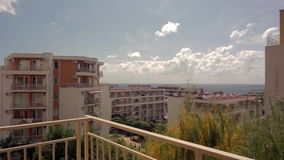 Sea view from the balcony of the hotel stock video footage