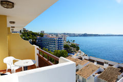 The sea view balcony at luxury hotel Stock Images