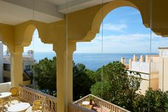 The sea view balcony at luxury hotel. Mallorca, Spain Stock Images