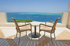 Sea view from the balcony of a luxury resort Stock Photography