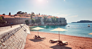 Sea view  beach hotel luxury resort Sveti Stefan Milocer beach Montenegro Stock Photo