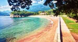 Sea view beach hotel luxury resort Sveti Stefan Milocer beach Montenegro Stock Image