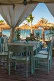 Sea view from Beach restaurant. Beach restaurant on the Black Sea ,Burgas, Bulgaria Royalty Free Stock Image