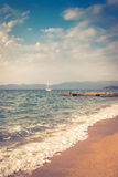 Sea  view from beach with retro look Royalty Free Stock Photography