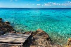 Sea view, beautiful beach with blue sky, sand sun daylight, holiday summer concept. Stock Photos