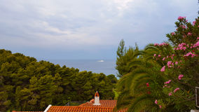 Sea view on a beautiful island of Skiathos in Greece, summer day Royalty Free Stock Photography